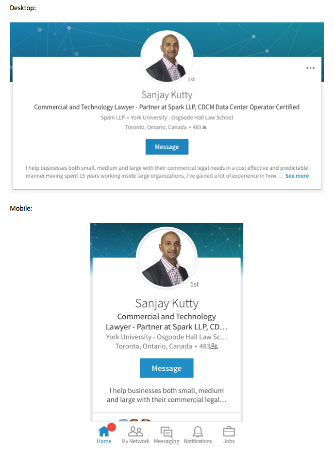 Visibility of LinkedIn Profile Summary